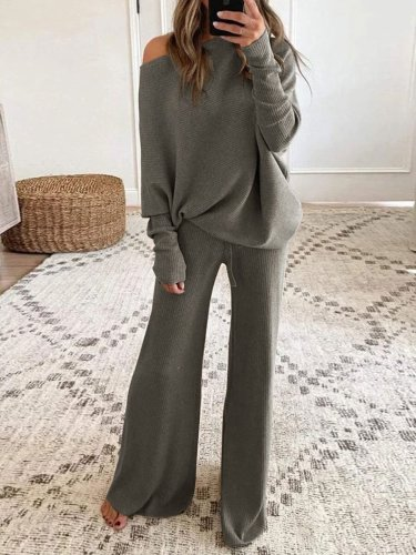 Pure color round neck long sleeve casual two-piece suits