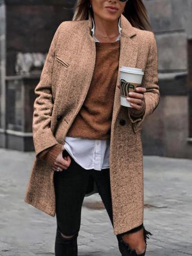 Plain women elegant turn down neck long coats