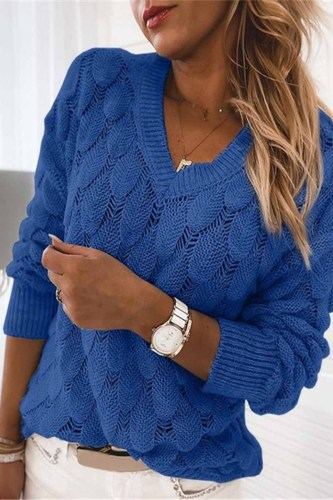 Loose V-neck Feather Solid Color Sweater(5 Colors)