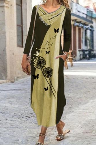 Casual Print Split Joint  Contrast Irregular Dress Dresses