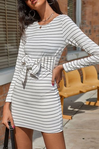 Fashion Casual Striped Split Joint O Neck A Line Dresses