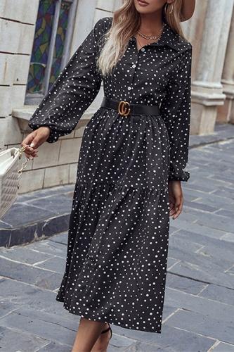 Elegant Polka Dot Buckle Fold Turndown Collar A Line Dresses  (Without Belt)