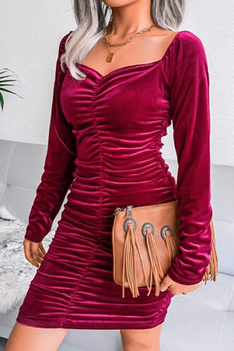 Fashion Elegant Solid Split Joint Fold Square Collar Pencil Skirt Dresses