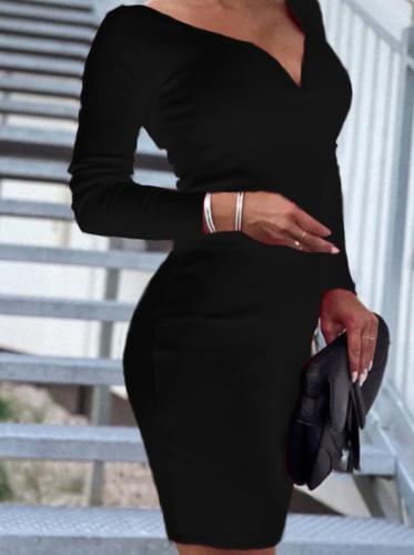 Elegant Solid Split Joint Basic V Neck Pencil Skirt Dresses
