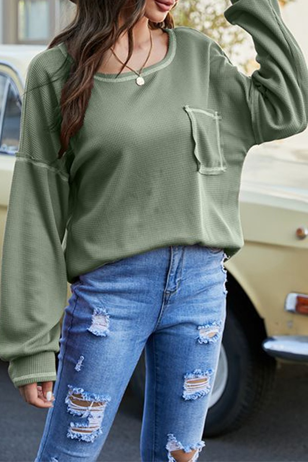 Casual Patchwork Pocket O Neck Tops T-shirts
