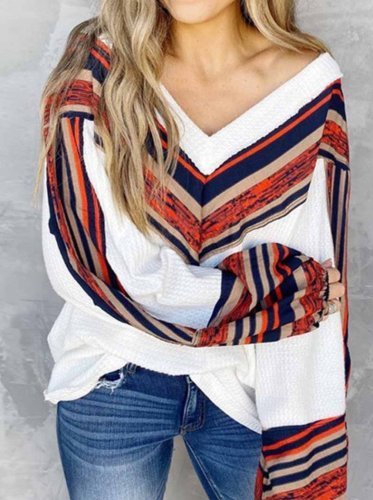 Loose V-neck Contrast Striped Top