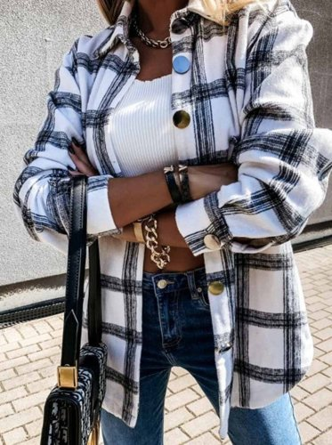 Loose Retro Plaid Coat(3 Colors)