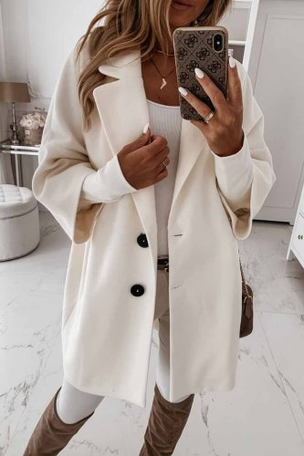 Solid Color Lapel Coat With Pocket And Buttons