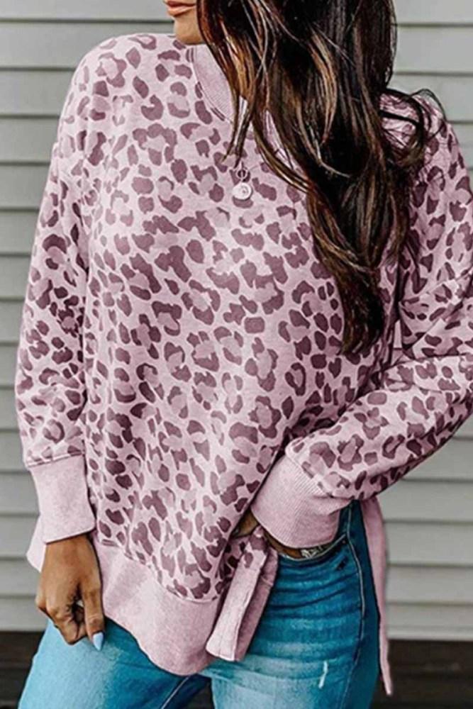 Florcoo Leopard Print Irregular Contrast Top