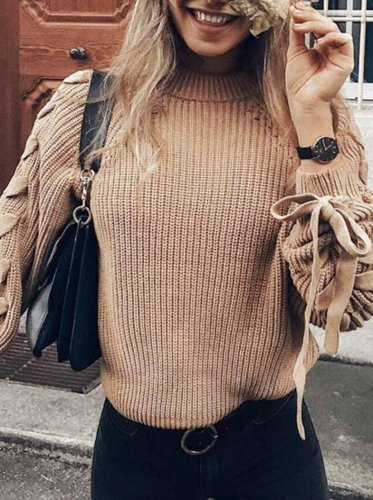 Tie Round Neck Solid Color Sweater