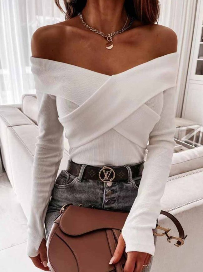 Florcoo Sexy V-Neck Strapless Striped Tie Tops Sweaters