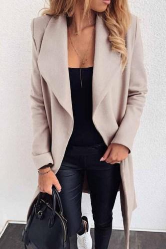 Lapel Solid Color Coat(3 Colors)
