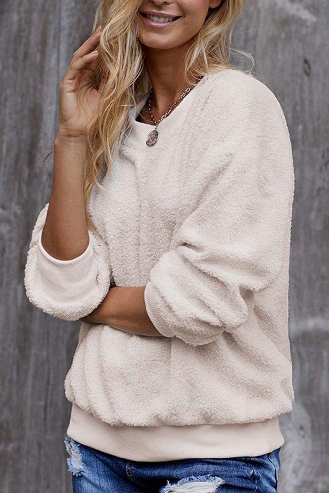 Teddy Plush Sweater Casual Tops