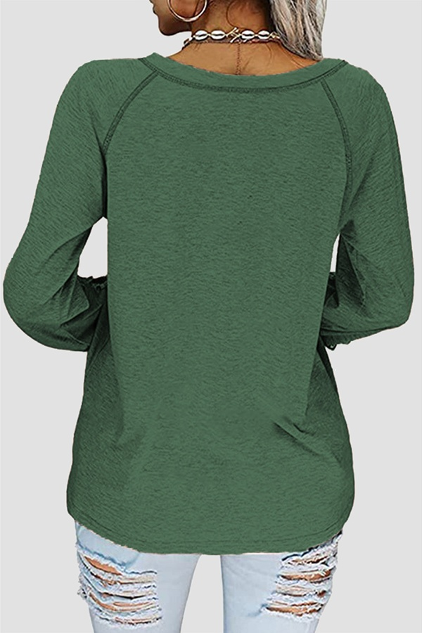Casual Solid Lace Split Joint V Neck T-Shirts(7 colors)