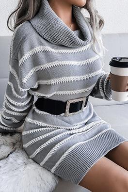 Casual Striped Split Joint  Contrast Turtleneck Dresses  (Without Belt)