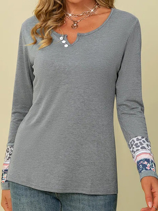 Casual Print Split Joint Buttons V Neck Tops