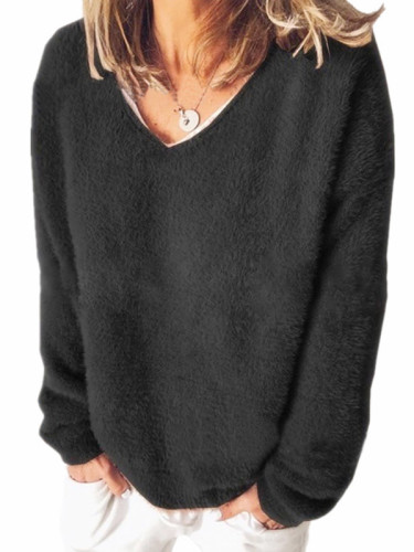 V-neck Solid Color Loose Top Sweaters