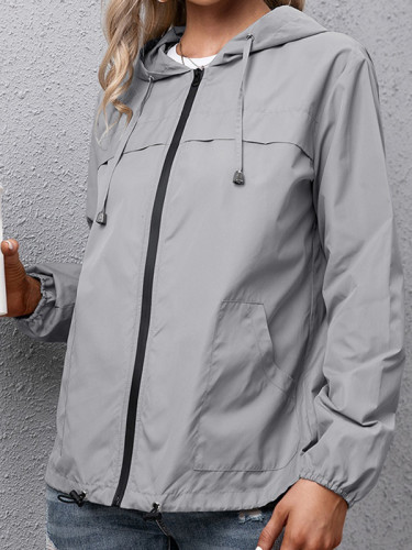 Casual Solid Draw String Zipper Hooded Collar Outerwear