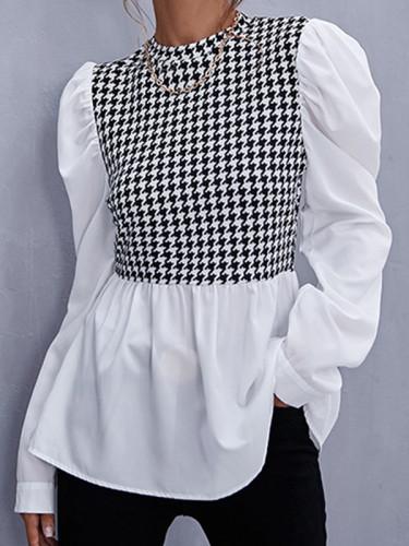 Elegant Patchwork Fold Zipper O Neck Tops