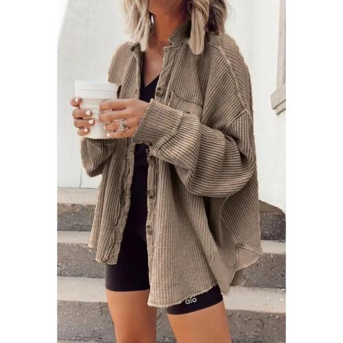 Waffle new casual women turn sown neck plain blouses coats