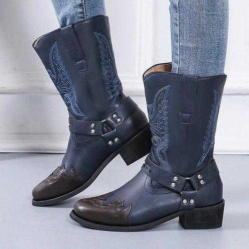 Women Plus Size Chunky Heel Slip-On Boots