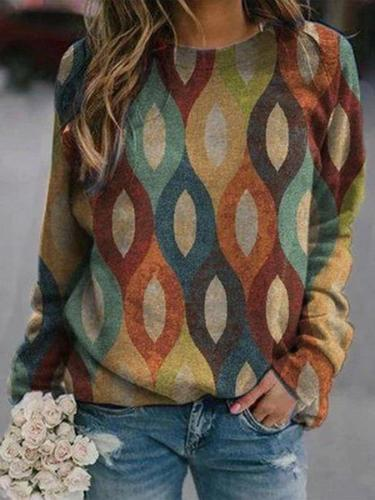 Photo Color Long Sleeve Cotton Shift Shirts & Tops