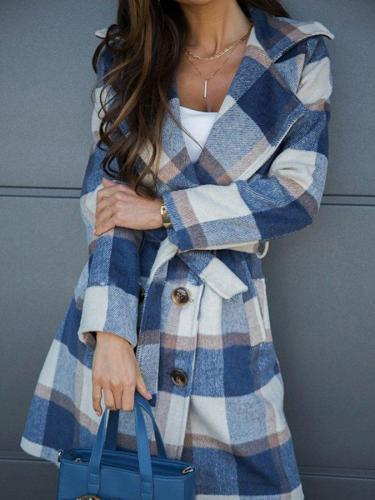 Checkered/plaid Long Sleeve Shift Vintage Outerwear