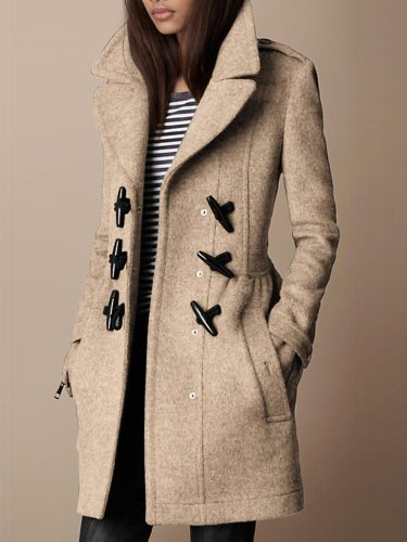 Buttoned Vintage Wool Blend Outerwear
