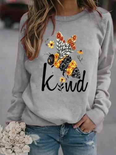 Crew Neck Long Sleeve Printed Casual Sweatshirt