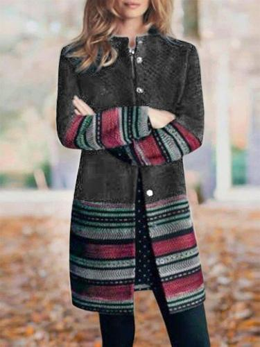 Black Tribal Shift Long Sleeve Outerwear