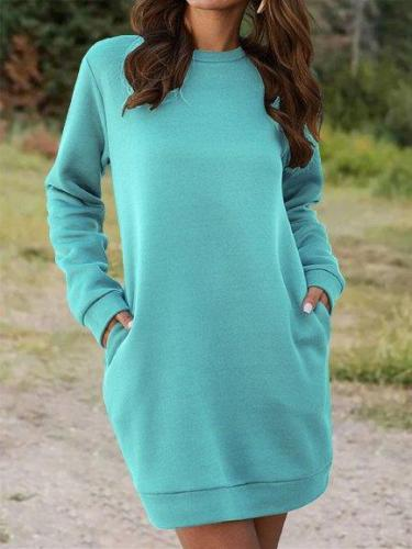 Vintage Solid Crew Neck Long Sleeve Plus Size Casual Sweatshirt Dresses Shift Dresses