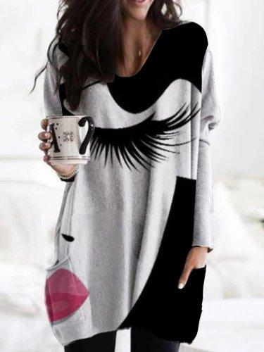 Black-Grey Casual Long Sleeve Abstract Shirts & Tops