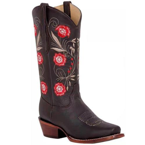 Women Plus Size Chunky Heel Embroidery Boots