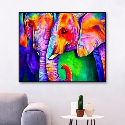 2021 Modern Art Colourful Animal Elephant Diy Paint By Numbers Kits Uk VM92283