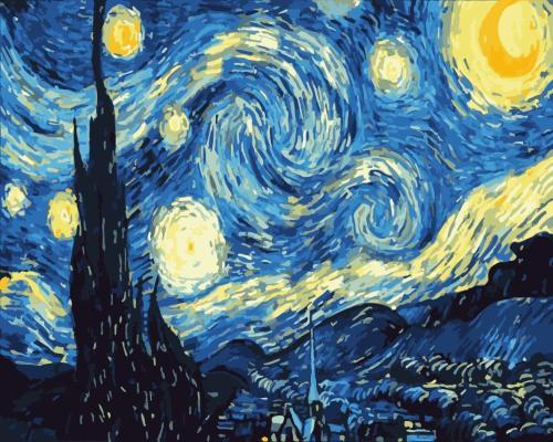 2021 Van Gogh Starry Sky Diy Paint By Numbers Kits Uk WM1124