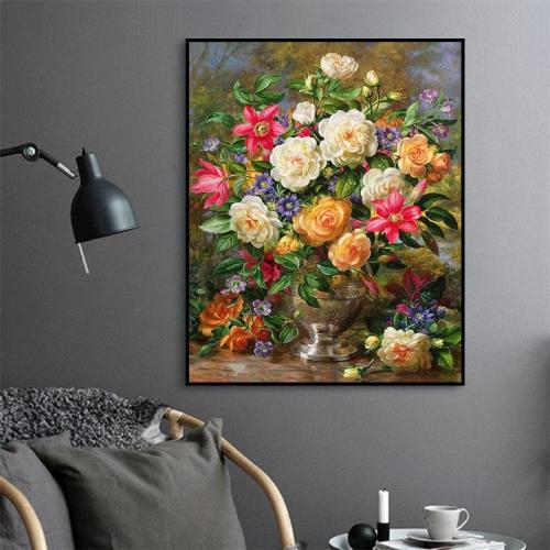 2021 Colorful Flower Oil Painting Style Diy Paint By Numbers Kits Uk VM90039