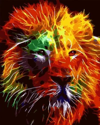 2021 Colorful Modern Art Lion Paint By Numbers Kits Uk WM420