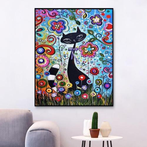 2021 Black Cat & Flower Diy Paint By Numbers Kits New Arrival Hot Sale UK VM94790