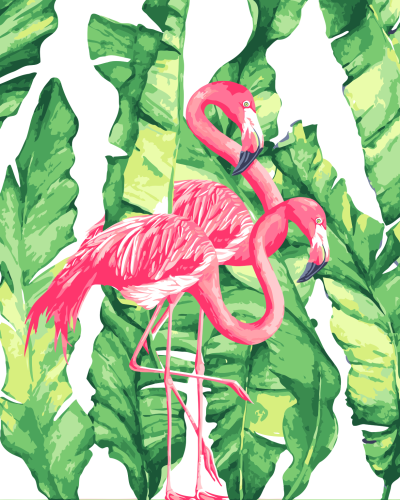 2021 Oil Painting Style Flamingo Diy Paint By Numbers Kits Uk YM209