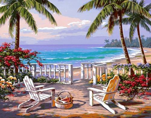 2021 Landscape Seaside Yard Palm Trees Diy Paint By Numbers Kits Uk BN00057