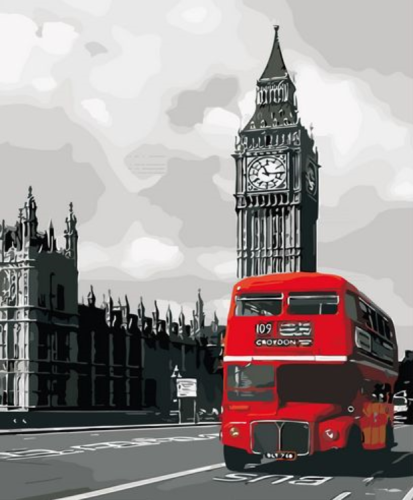 2021 Red Bus Diy Landscape Paint By Numbers Kits Uk XZ125