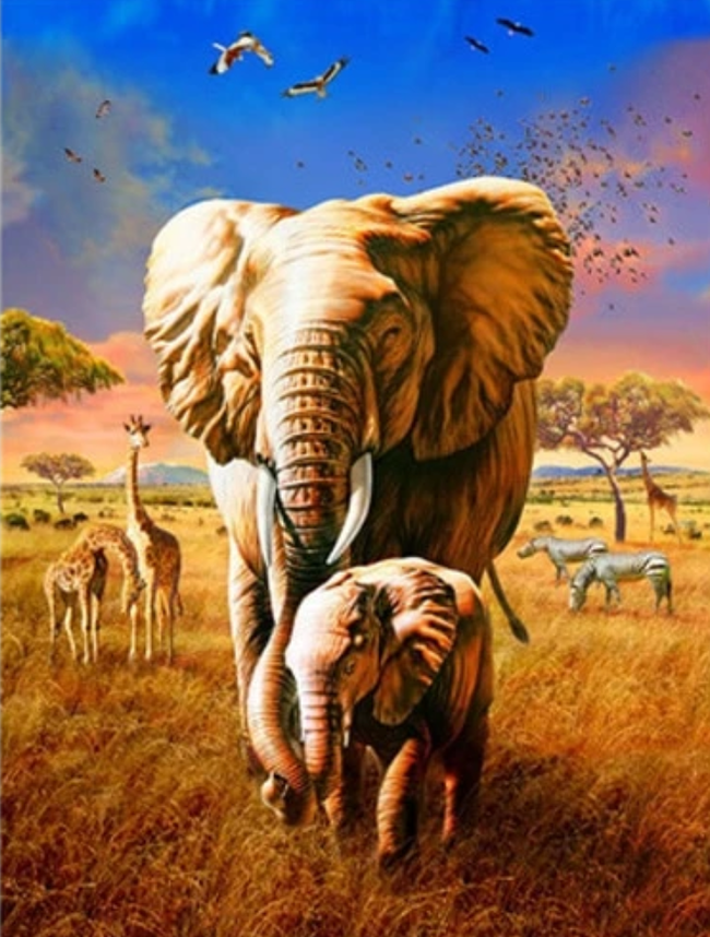2021 Cute Elephant Family Diy Paint By Numbers Kits New Arrival Uk VM42028