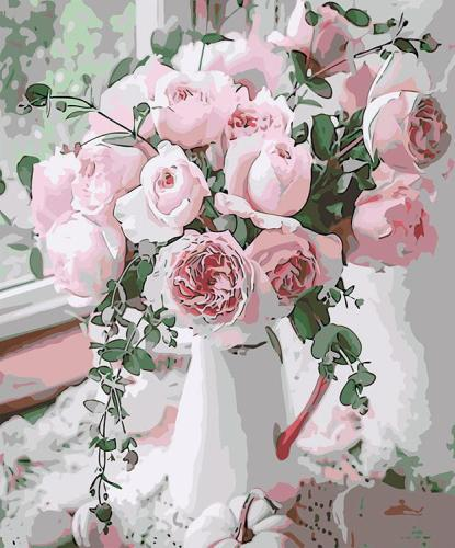 2021 Beautiful Watercolor Pink Rose Diy Paint By Numbers Kits UK VM57510