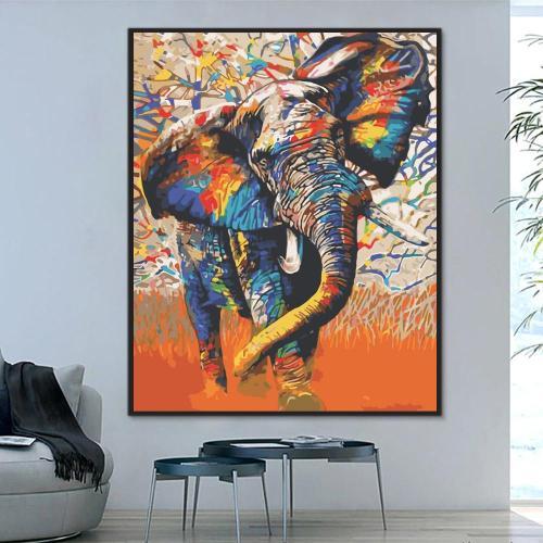 2021 Colorful Modern Art Elephant Diy Paint By Numbers Kits Uk WM1058