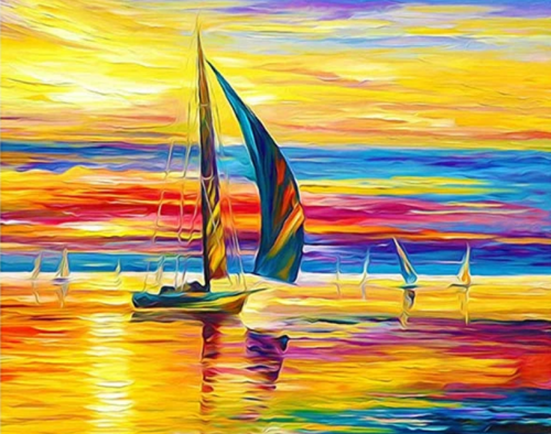 2021 Sunset Sailing Landscape Diy Paint By Numbers Kits UK VM94823