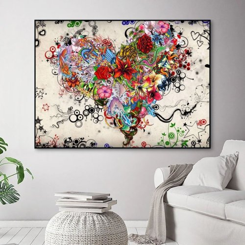 2021 Fantasy Style Heart Shaped Flower Diy Paint By Numbers Kits Uk WM953