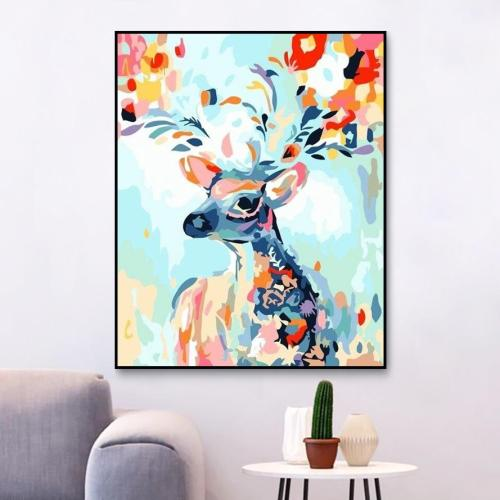 2021 Colorful Modern Art Deer Diy Paint By Numbers Kits New Arrival Hot Sale Uk WM1654