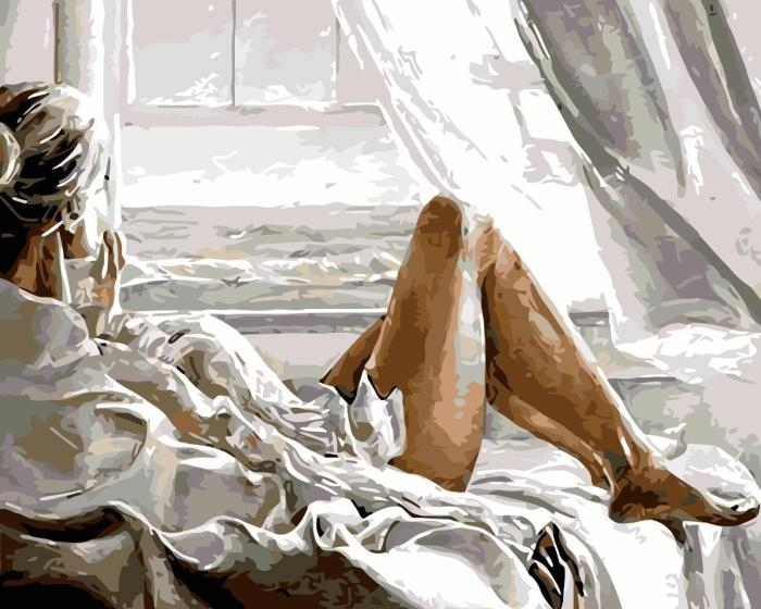 2021 Sexy Woman On Bed Diy Paint By Numbers Kits Uk WM395