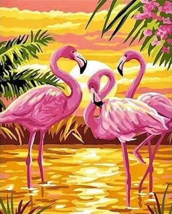 2021 Pink Flamingo Diy Paint By Numbers Kits Uk VM92136
