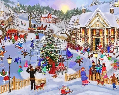 2021 Christmas Series Diy Paint By Numbers Kits Uk NP1104